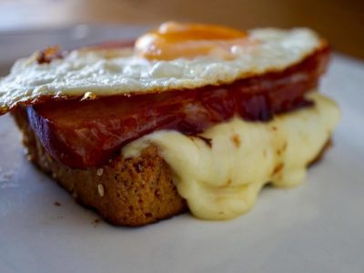 HAM EGG AND CHEESE STACK ON KETO BREAD