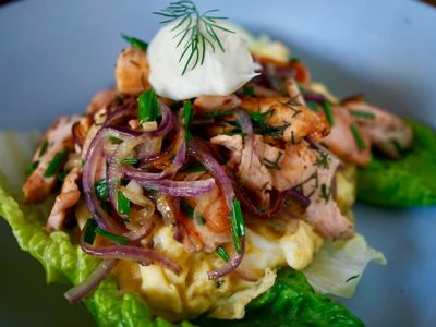 SALMON SCRAMBLED EGG WITH CAPERS & MASCARPONE