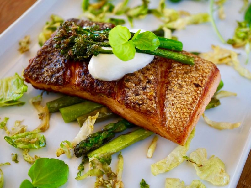 CRISPY SKIN SALMON WITH BUTTER FRIED GREENS