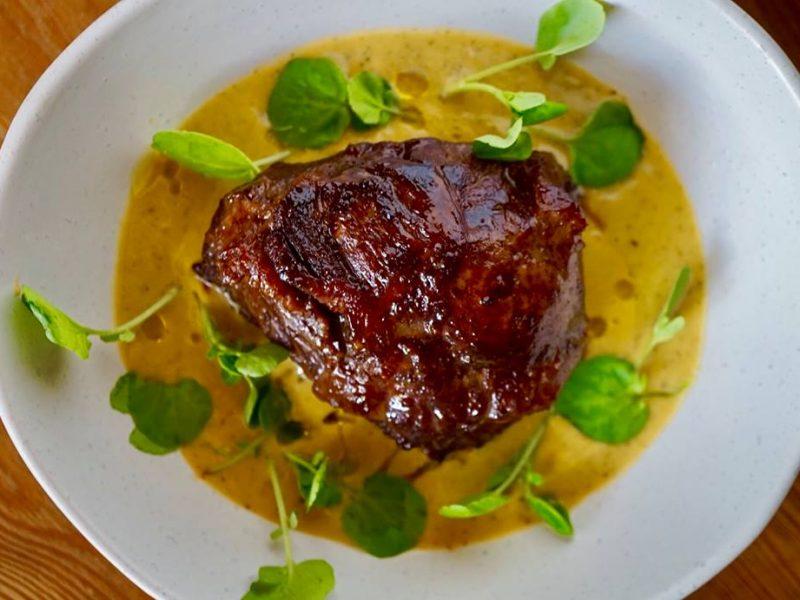 EASY TENDER BEEF CHEEK WITH VEG SOUP & TRUFFLE OIL